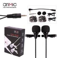 Микрофон конденсаторный Ulanzi AriMic, петличный микрофон с двумя головками и клипсой, 6 м, с адаптером TRRS, для телефонов и DSLR