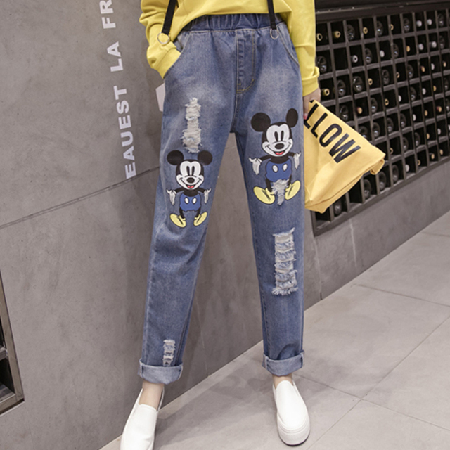 cf2d3e8160e Cartoon Mickey Mouse Jeans Woman Distressed Ripped Boyfriend Jeans For  Women Mom High Waist Plus Size Casual Harem Jeans Baggy