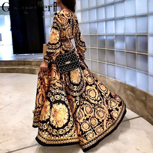 Women summer elegant print maxi dress long sleeve paisley