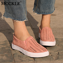 MCCKLE Spring Plus Size Women Casual Flat Sneakers Cut-outs Slip-on Elastic Band Ladies Loafers Flock Female Shoes Drop Shipping