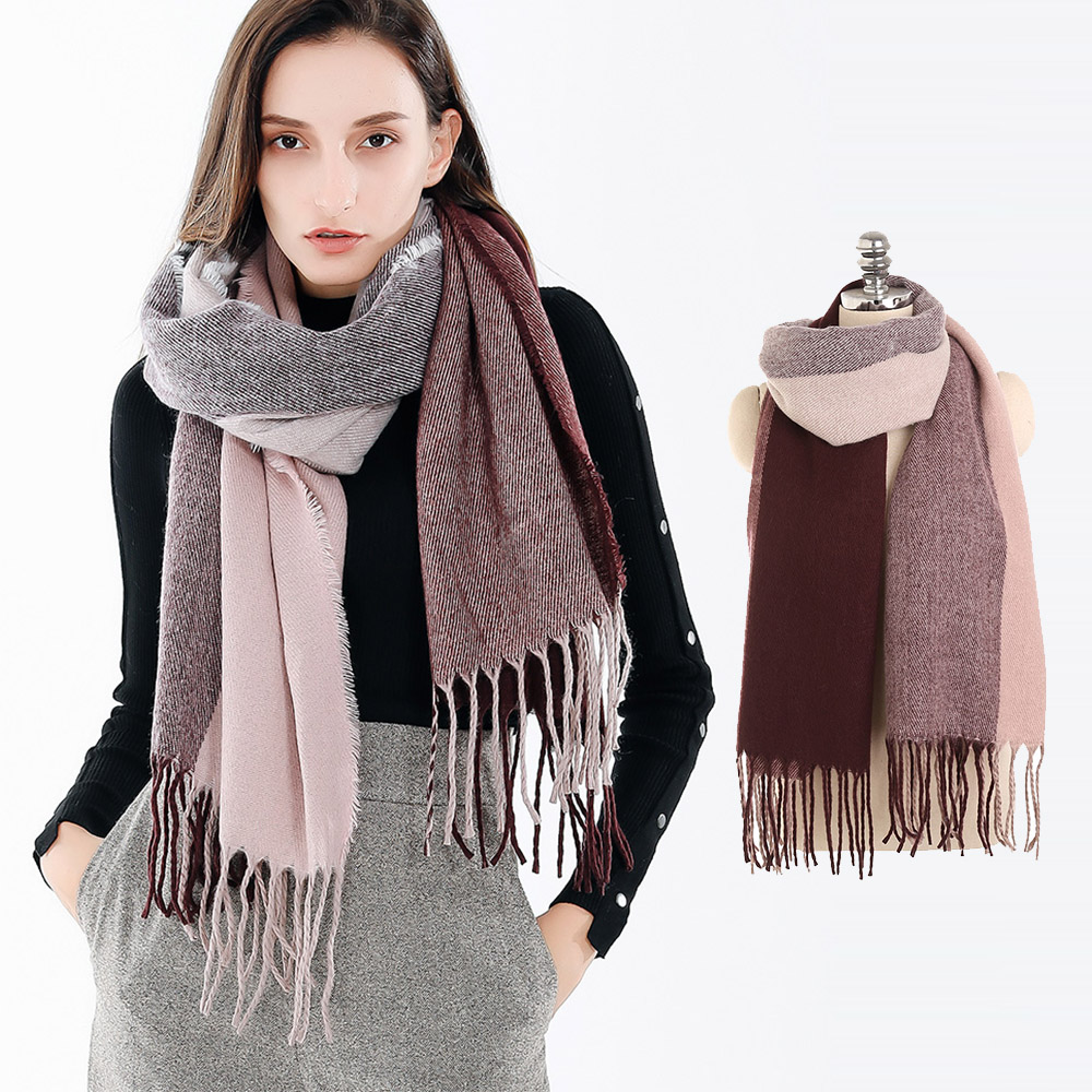 2018 Women   Scarf   Blanket Winter Female Warm Gradient Color   Scarves     Wraps   Shawls Cashmere Long   Scarf   Women Cachecol Feminino