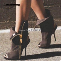 Linamong Brand Fashion Peep Toe Suede Leather Thin Heel Short Boots Side Zipper up Cut out High Heel Ankle Boots Club Shoes