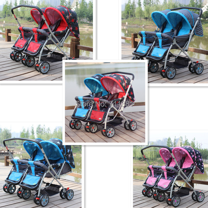 Baby Carriage For Twin 2 Seats In Row Stroller Car Foldable 5 Colors Prams Pushchairs Suit 7 36 Months Three Wheels