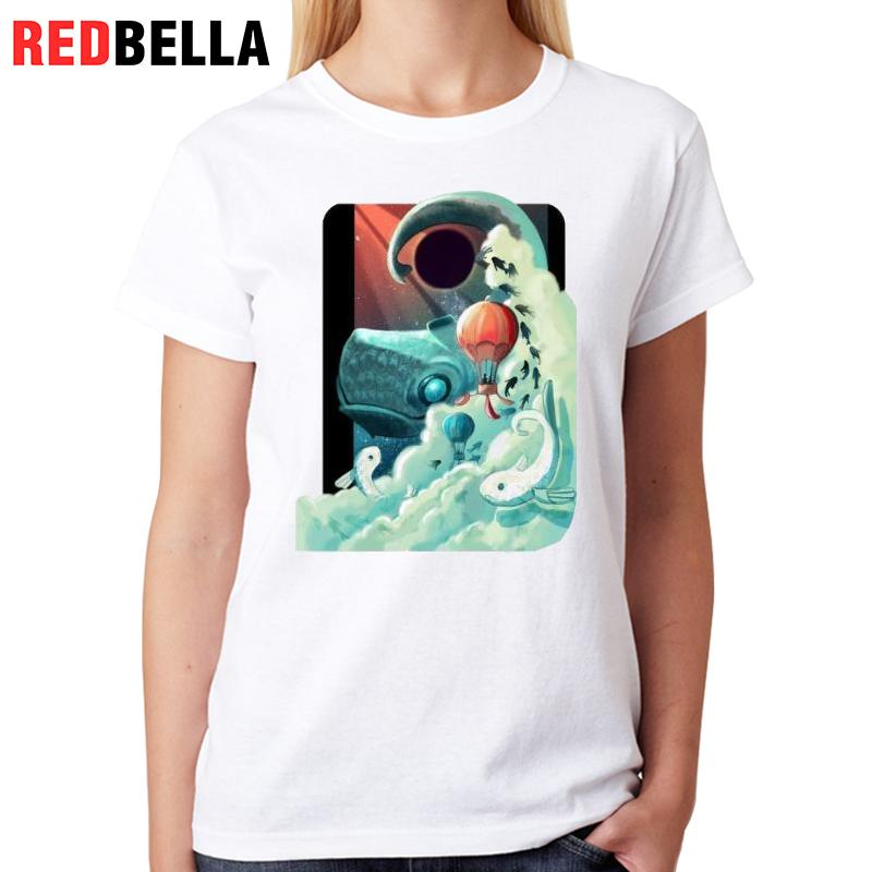 REDBELLA Clothes Women Retro Art Vintage Harajuku Pattern Tumblr Hipster Cool Graphic Pop T-shirt Vrouwen Casual Fashion Cotton