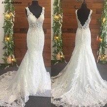 Meerjungfrau Hochzeit Kleider 2020 Open Back V ausschnitt Spitze Appliques Perlen Sweep Zug Illusion Top Sexy Brautkleider Robe De Mariee