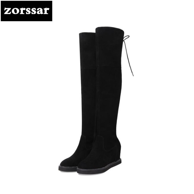 {Zorssar} 2019 New Winter Plush Female Snow boots Fashion knee high Boots Suede Leather Women Over the knee boots High heels zorssar 2019 new fashion female snow boots winter plush thigh high boots suede leather flat heel women over the knee boots