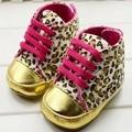 Симпатичная Девочка Обувь Младенческой Малышей Леопарда Золото Детская Кровать Первые Ходунки Тапки Размер 11 12 13