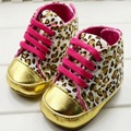 Cute Baby Girl Shoes Infant Toddler Leopard Gold Crib First Walkers Sneaker Size 11 12 13