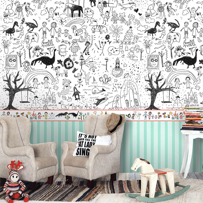 Free shipping child graffiti art environmental children 39 s for Child mural wallpaper