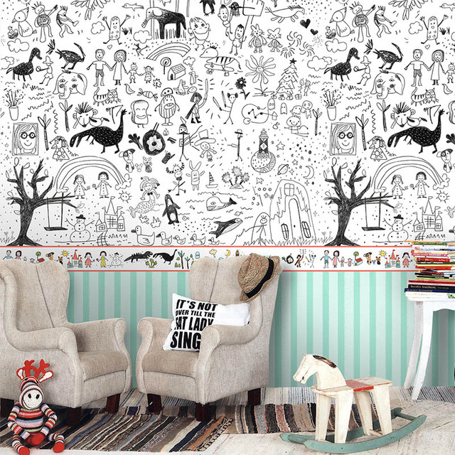 Free Shipping Child Graffiti Art Environmental Children S Room Wallpaper Super Baby Large Mural Custom Size