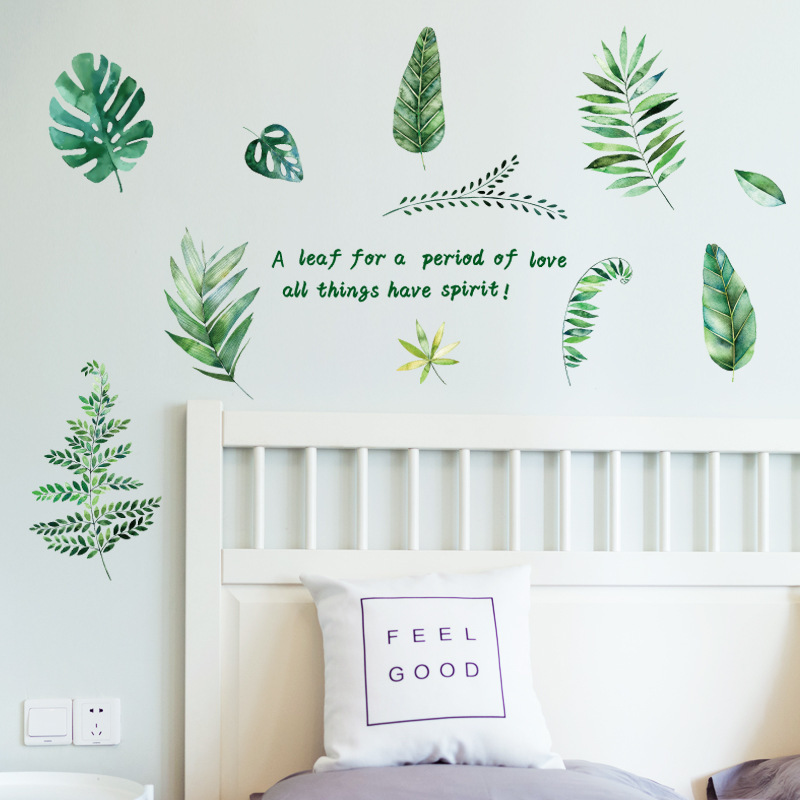 Nordic Style Green Plants Wall Sticker Living Room Tv Background Wall Stickers For Kids Rooms Home Decor Wall Art Wall Decal