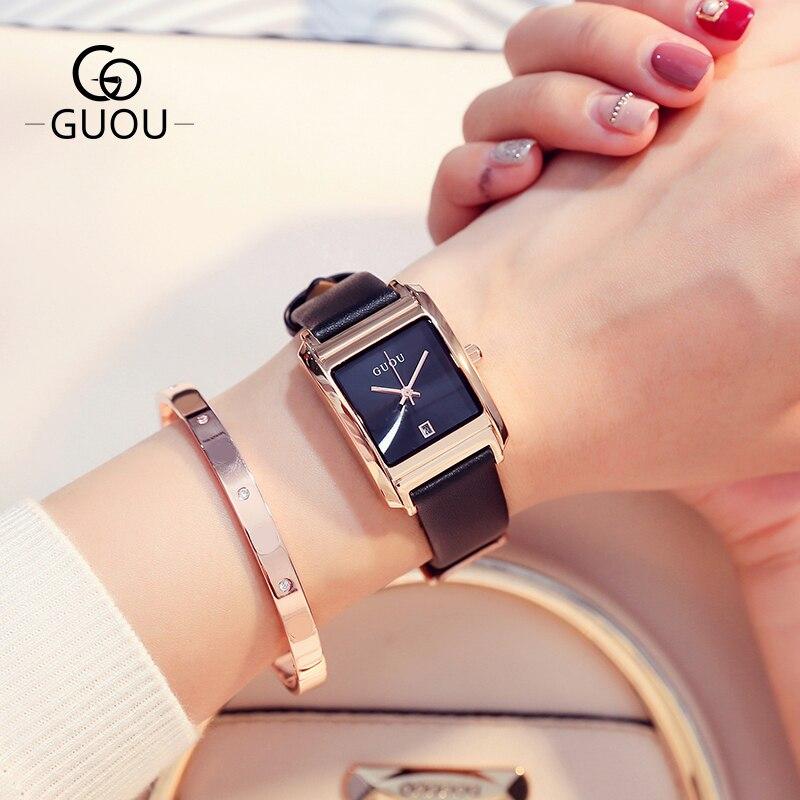 GUOU Watch Fashion Leather Women's Watches Top Luxury Ladies Watch Rectangle Retro Quartz Clock Relogio Feminino Reloj Mujer