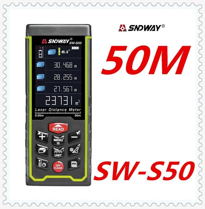 SNDWAY Laser distance mete Laser rangefinder range finder Digital Tape USB Color display Rechargeabel 50M SW