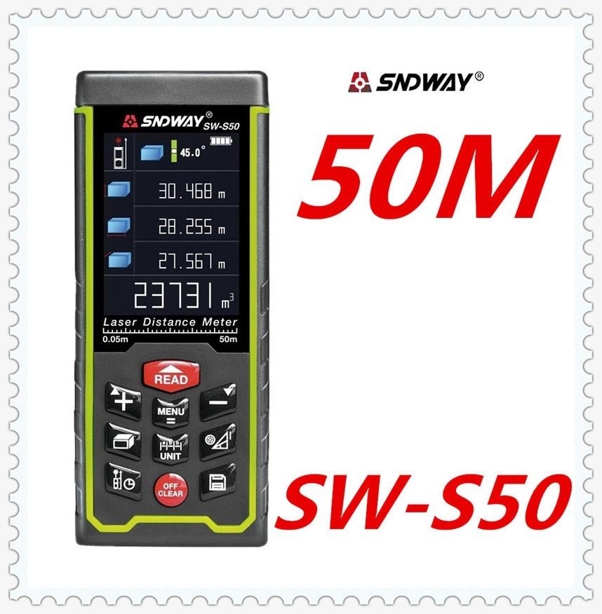 SNDWAY Laser distance mete Laser rangefinder range finder Digital Tape USB Color display Rechargeabel 50M SW-S50 free shipping цена