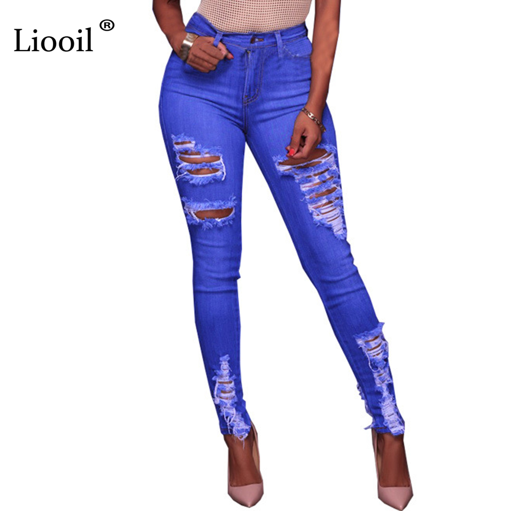 Liooil Blue Boyfriend Jeans For Women 2017 New Ripped Mid Waist Pockets Hole Sexy Hollow Out