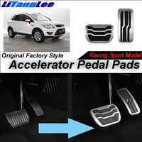 LitangLee Car Accelerator Pedal Pad Cover Foot Throttle Pedal Cover Sport Racing Model For Ford Kuga MK2 AT