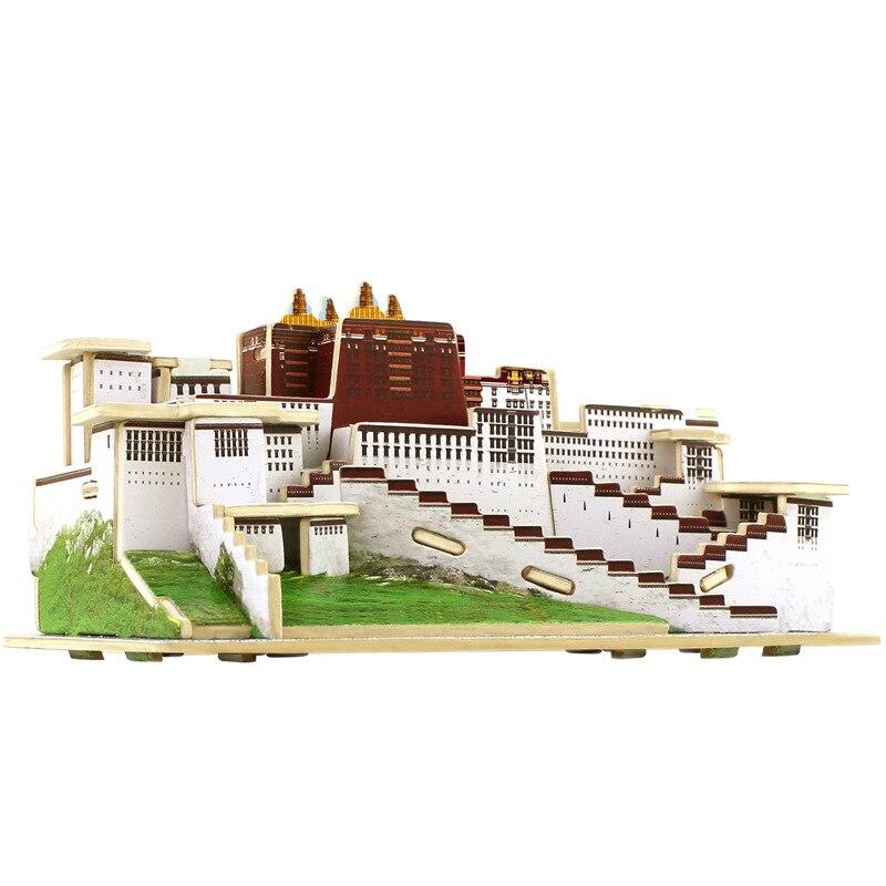 3 डी लकड़ी पहेलियाँ क्यूबिक लकड़ी पहेली दुनिया के बिल्डिंग ब्लॉक्स निर्माण बच्चों के शैक्षिक खिलौने उपहार फो ब्रांग पोटला पैलेस