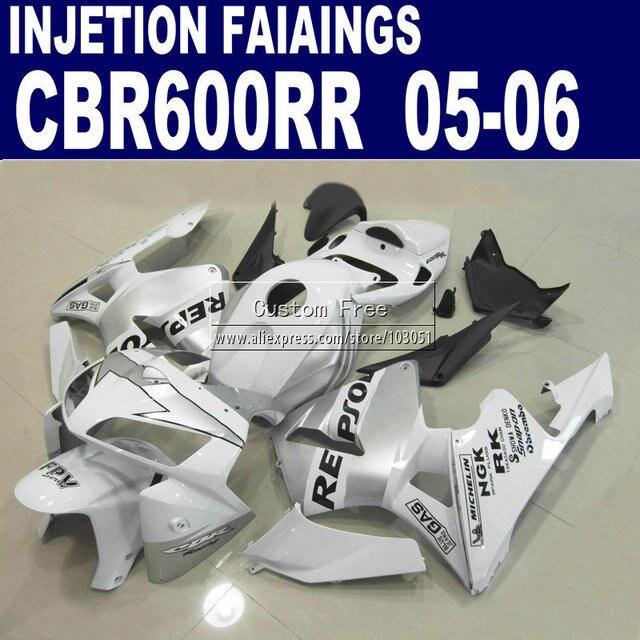 Motorcycle injection molding fairings set for Honda repsol CBR 600 RR fairing 2005 2006 600RR CBR600RR 05 06 white silver bodyki