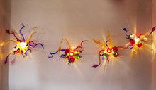 Free Air Shipping Western Contemporary Colorful Chihuly Style Art Glass Brass Wall Light