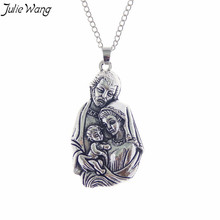 Julie Wang 1PC Antique Silver Color Saint Virgin Mary Joseph Baby Jesus Pendant Necklace Christian Religious Prayer Jewelry