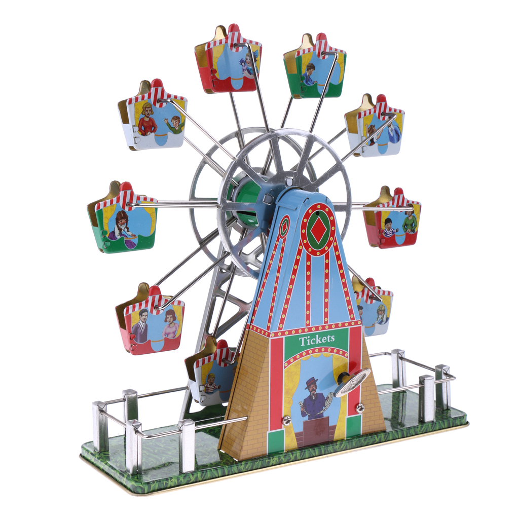 Vintage Musical Ferris Wheel Clockwork Tin Toy Classic Wind-up Toys Collectible Gift