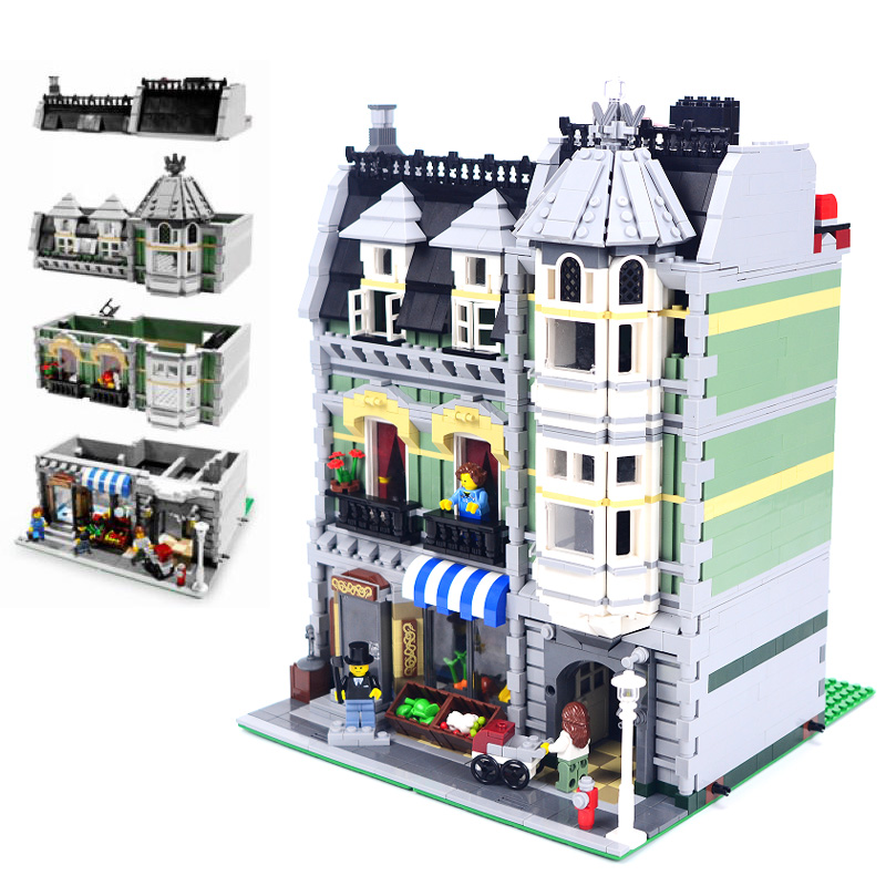 LEPIN 15008 Streetview Series 2462pcs City Street Green Grocer Building Block Bricks set Toys For children Legoing 10185 Gift ynynoo lepin 02043 stucke city series airport terminal modell bausteine set ziegel spielzeug fur kinder geschenk junge spielzeug