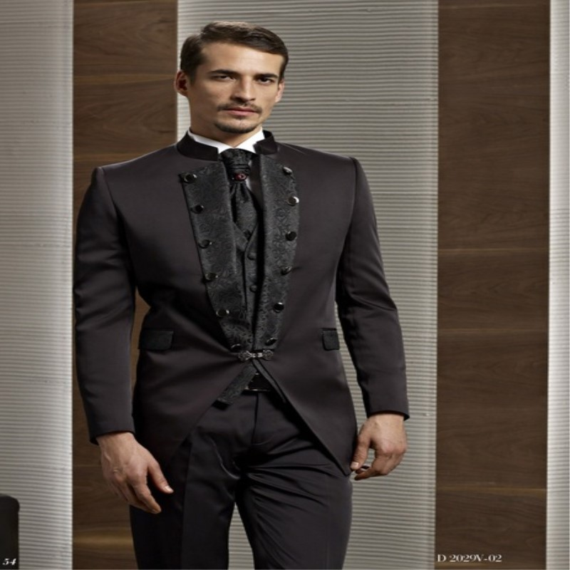 Special Embroidered Stand Collar Men Suits Groomsman Suits For Wedding Men's Formal Prom Tuxedos (Jacket+Pants+Vest+Tie)