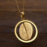 San Benito Medal Pendant Gold Color Stainless Steel Rotatable Jesus Pendants & Necklaces for Religious Jewelry Medallion Ma'le