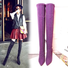 purple color women over the knee boots women thin high heel 9 cm boots print flower boot sexy lady pointed velvet elastic boot new 2018 spring wine red pink velvet upper women long boots over the knee sexy pointed toe high thin heel boots shoes lady