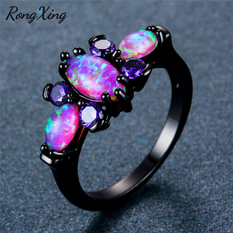 RongXing Elegant Pink Fire Opal Butterfly Rings Women Gift Vintage Fashion BlackBlue Gold
