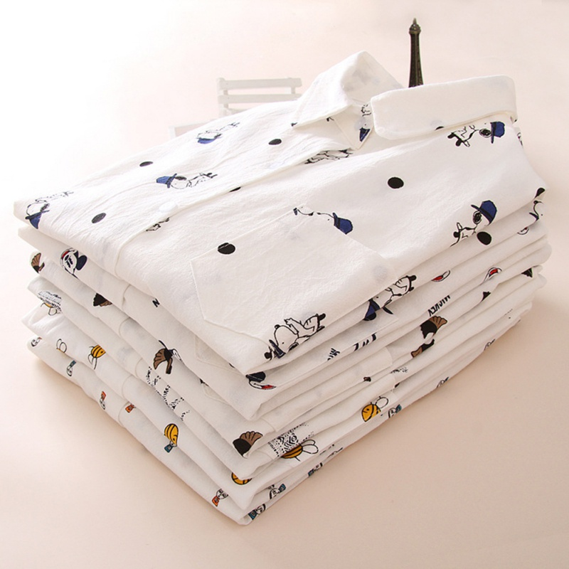 Women   Blouses   Cartoon Dog Bee Print Top Female Long Sleeve   Blouse     Shirts   Ladies Clothing Cotton Fashion Womens   Shirts