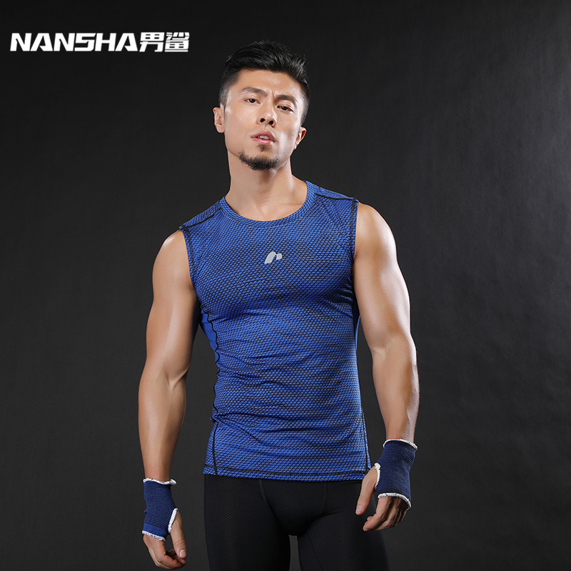 NANSHA Brand Men's Tight Breathable Vest Compression Fitness   Tank     Tops   For Men Bodybuilding Sleeveless Shirts