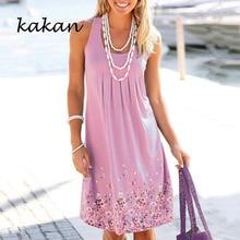kakan Summer Women Floral Dress O neck Sleeless Tank Dresses Casual Minimalist Plus Size S-5XL