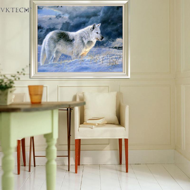 DIY Broderi Snö Wolf 5D Diamantmålning Craft Corss Stitch Diamond - Konst, hantverk och sömnad - Foto 3