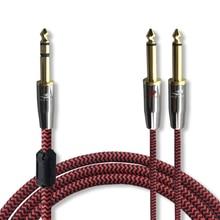 """HIFI 6.35 мм для Dual 6.35 мм аудио кабель Смеситель консоли Усилители домашние 1/4 """"TRS Jack 1:2 сплиттер кабель аудиофилов 75 см 1 м 2 м 3 м 5 м 8 м"""