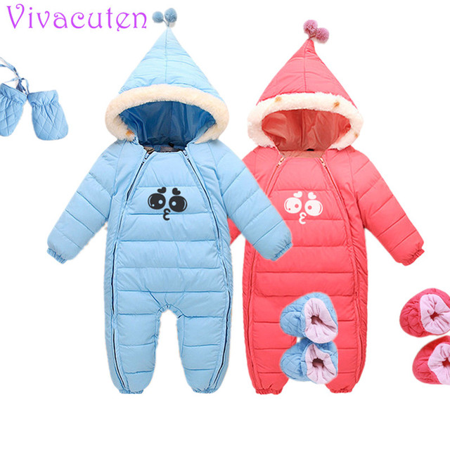 d73f46953 Winter Thick Baby Rompers Boys Costume Girls Warm Infant Snowsuit ...
