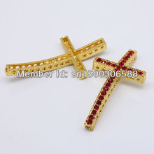 Wholesale 50pcs/Lot Light Siam Rhinestone Gold Color Curved Side ways Cross Connectors Beads For Bracelet DIY Jewelry Findings