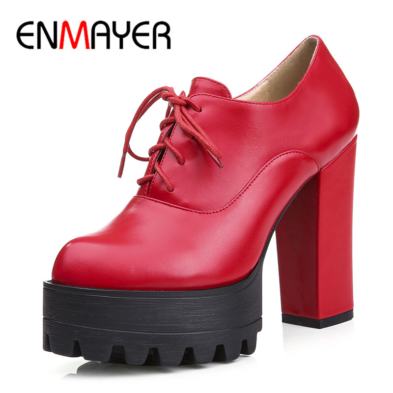 ФОТО ENMAYER Sexy Red Wedding Party Shoes Woman High Heels Pumps Cross-tied Platform Shoe Large Size 34-42 Black White Shoes Pumps