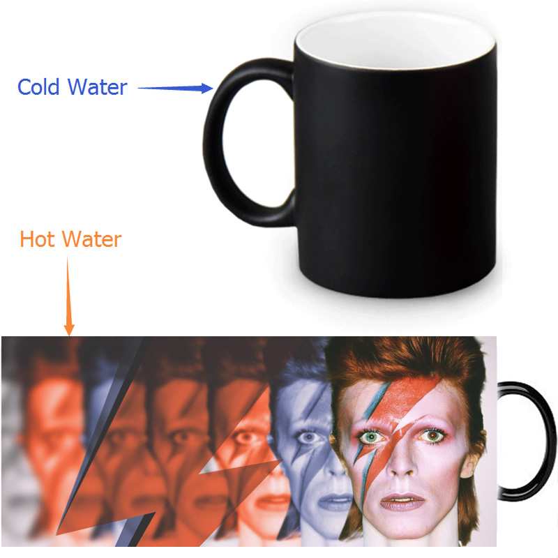 US $16 98 30% OFF|David Bowie mugs morph cup gifts magical heat sensitive  Black colour change morphing coffee Tea Cups ceramic mug-in Mugs from Home  &