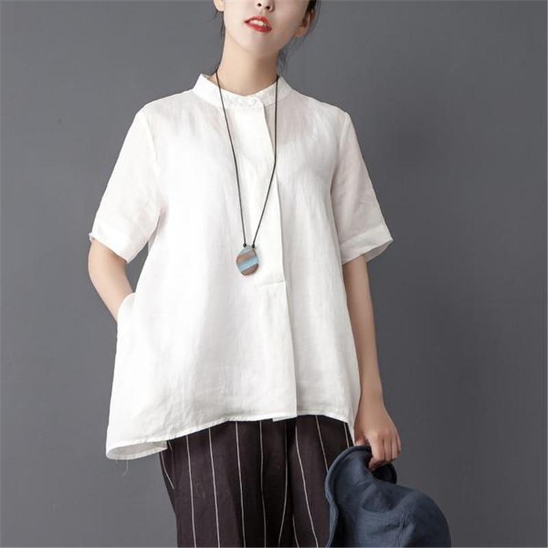 BUYKUD 2018 été femmes col montant à manches courtes solide irrégulière Blouse décontracté lâche pull femme longues chemises et hauts