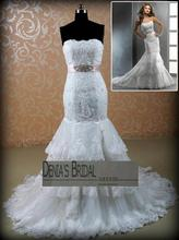 Casamento bridal gown crystal belt vestido de noiva 2014 new fashionable romantic sexy appliques wedding Dress free shipping