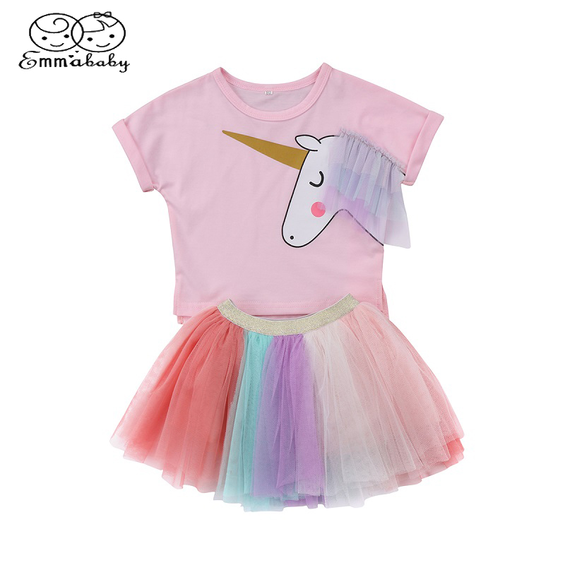 Emmababy Toddler Baby Clothing 2Pcs Set Kids Baby Girls Short Unicorn T-shirt Tops+Lace Mini Skirt Outfits Clothes Summer 6M-5T