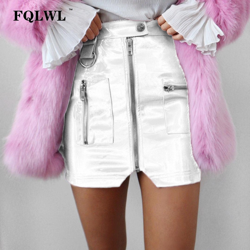 FQLWL PVC Faux Leather Skirt Women Zipper Pocket Skinny Mini Latex Skirt Sequin White Black Sexy Club Skater Summer Skirt Pencil