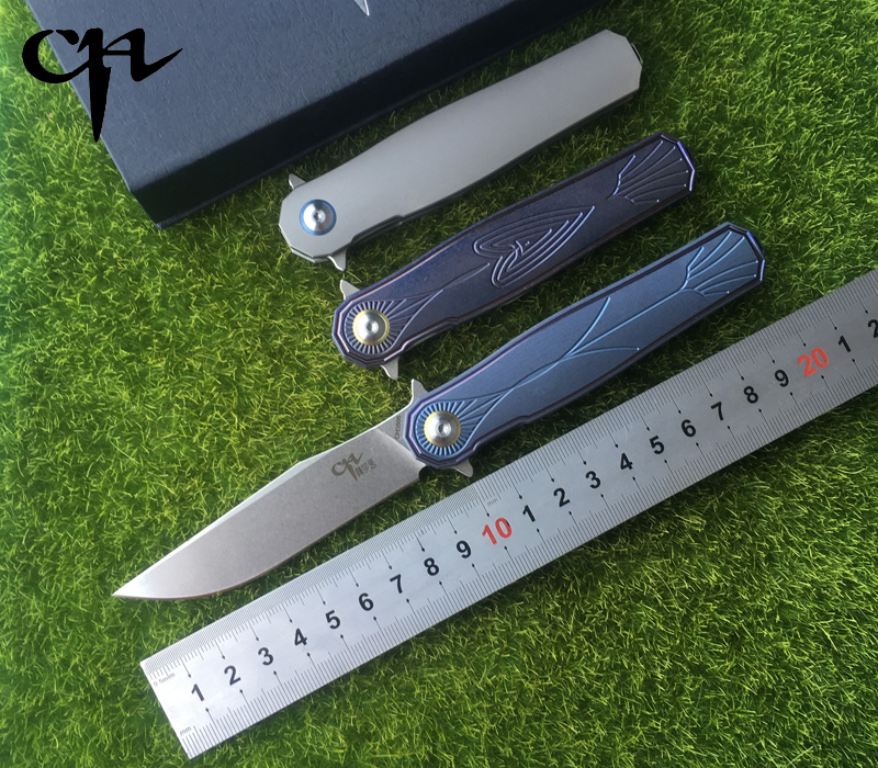 CH 3505 folding knife ceramic bearings s35vn steel TC4 titanium handle outdoor camping hunting pocket fruit knife EDC tools tjc tjc 014 folding 3 2 ceramic fruit melon knife blue black