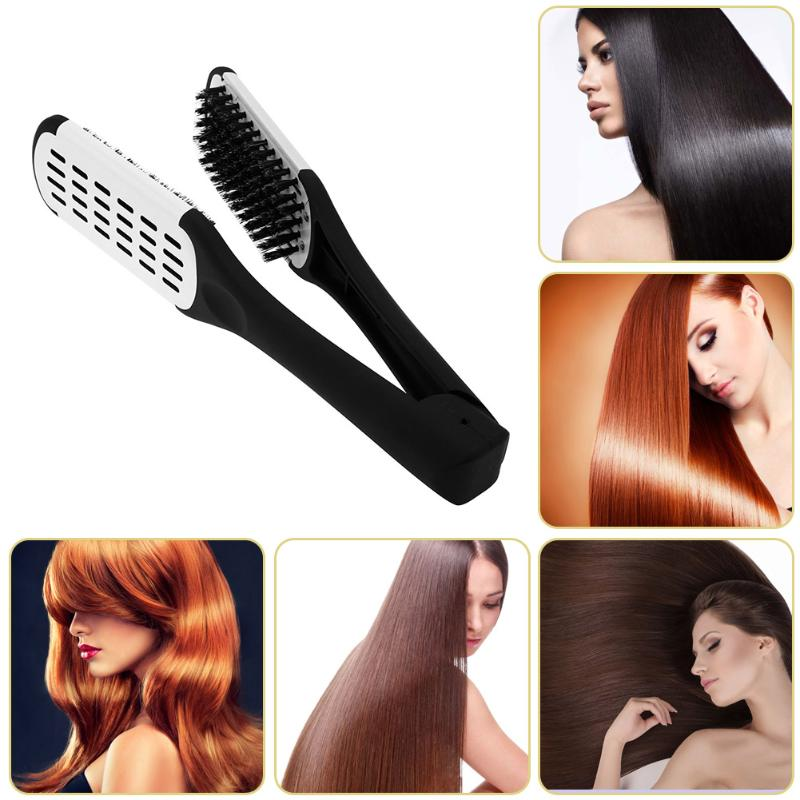 Double Sided Hairdressing Brush Clamp Natural Ceramic Plywood Straightening Comb Fibre Styling Hair Care Tools Hair Straightener