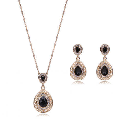 2017 Women Rhinestone Waterdrop Pendant Necklace Stud Drop Earrings Jewelry Set