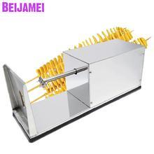 Beijamei Электрический скрученный картофель резак из нержавеющей стали картофеля слайсер домашний коммерческий французский фри резак резки