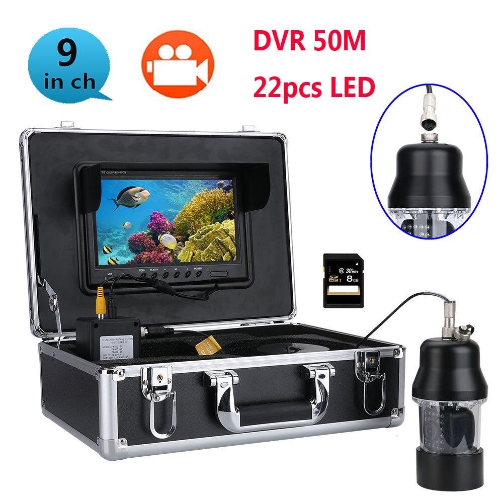 100 m 50 M 20 m DVR cámara de vídeo de pesca submarina buscador de los pescados 9 pulgadas DVR Color pantalla impermeable 22 LED de 360 grados