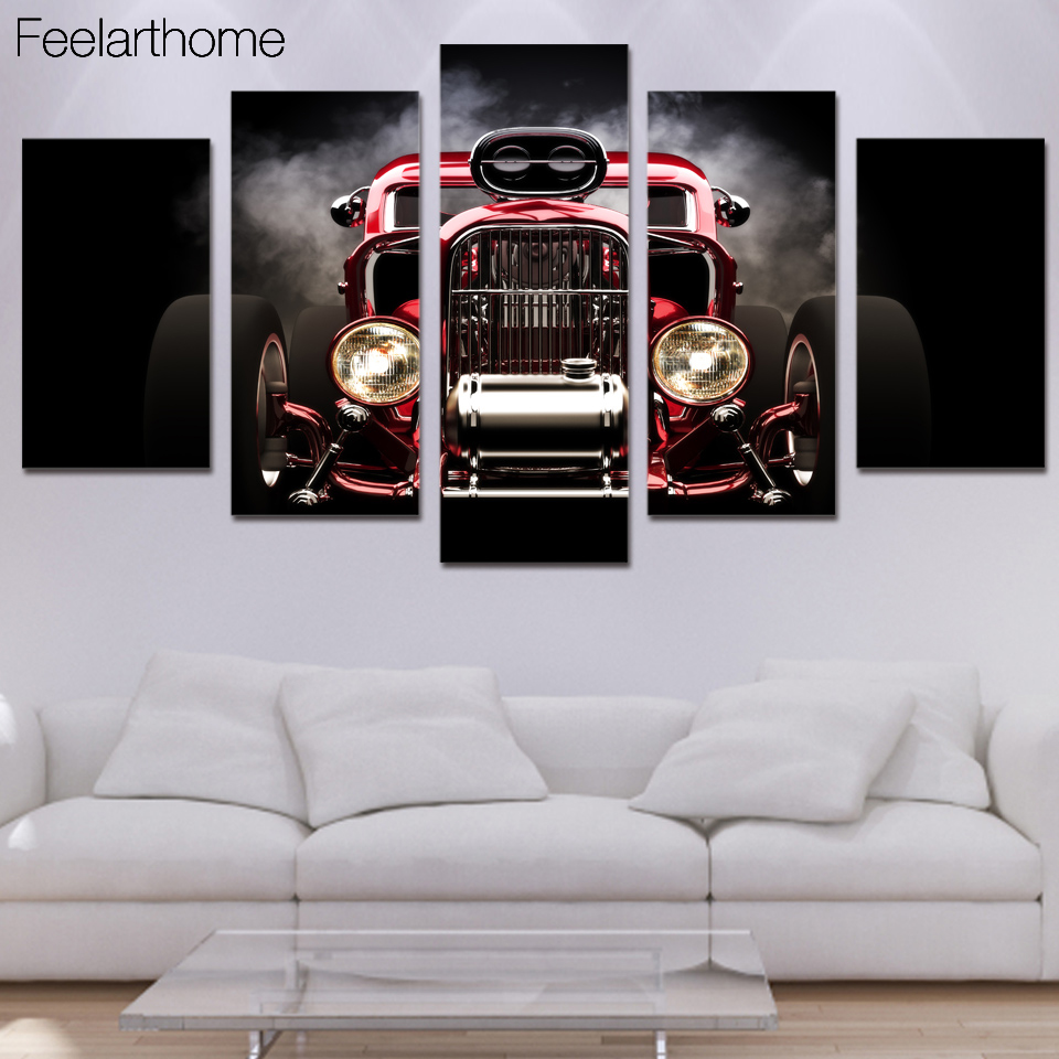 HD Printed Hot Rod Red Front View Wheels Picture Painting Wall Art  Childrenu0027s Room Decor Poster