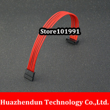 High Quality RED Cable SATA Extension Power Cable for Serial hard disk power supply with Protective Net 30CM
